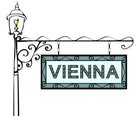 lamppost: Vienna retro vintage lamppost pointer. Vienna Capital Austria tourism travel. Illustration