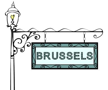 lamppost: Brussels retro vintage lamppost pointer. Brussels Capital Belgium tourism travel.