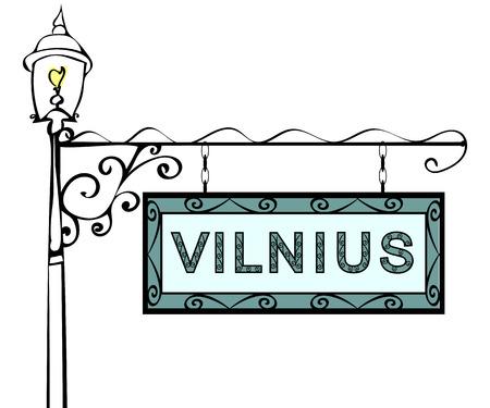 lamppost: Vilnius retro vintage lamppost pointer. Vilnius Capital Lithuania tourism travel. Illustration