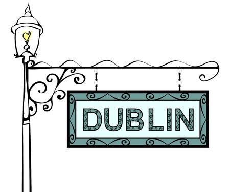 ireland cities: Dublin retro vintage lamppost pointer. Dublin Capital Ireland tourism travel.