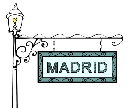 madrid: Madrid retro vintage lamppost pointer. Madrid Capital Spain tourism travel.