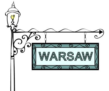 forge: Warsaw retro pointer lamppost. Warsaw Capital Poland tourism travel. Illustration