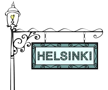lamppost: Helsinki retro pointer lamppost. Helsinki Capital Finland tourism travel.