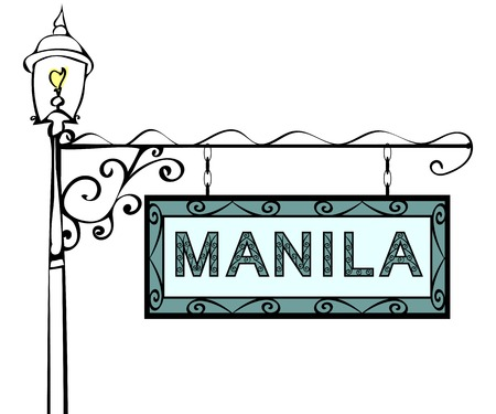 lamppost: Manila retro pointer lamppost. Manila Capital Philippines tourism travel.