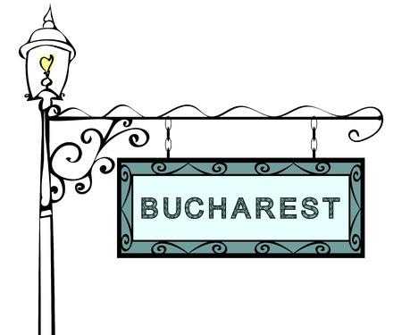 lamppost: Bucharest retro pointer lamppost. Bucharest Capital Romania tourism travel.