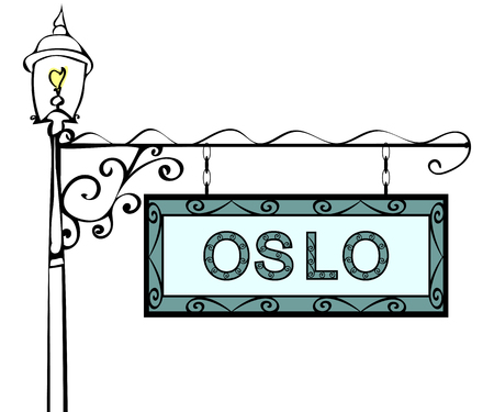 blue signage: Oslo retro pointer lamppost. Oslo Capital Norway tourism travel.