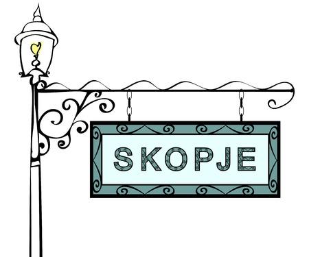forge: Skopje retro pointer lamppost. Skopje Capital Macedonia tourism travel.