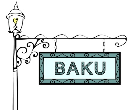blue signage: Baku retro pointer lamppost. Baku Capital Azerbaijan tourism travel.