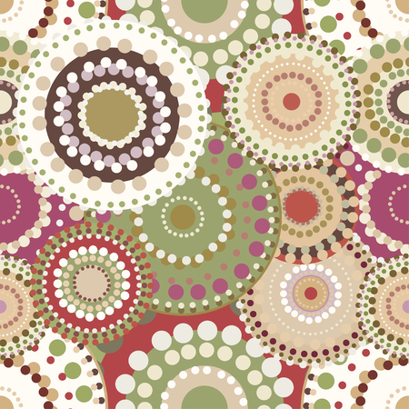 sincere: Seamless retro pattern with vintage bright colorful painted circles. Romantic  ornaments natural colored.