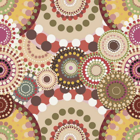 Seamless retro pattern with vintage bright colorful painted circles. Romantic ornaments natural colored.