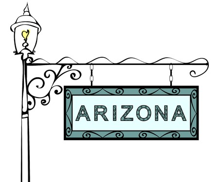 blue signage: Arizona retro pointer lamppost. Arizona state America tourism travel.