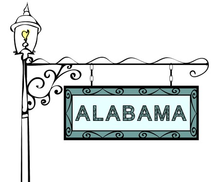 blue signage: Alabama retro pointer lamppost. Alabama state America tourism travel. Illustration
