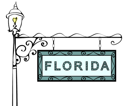 lamppost: Florida retro pointer lamppost. Florida state America tourism travel.