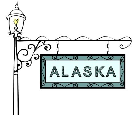 lamppost: Alaska retro pointer lamppost. Alaska state America tourism travel.