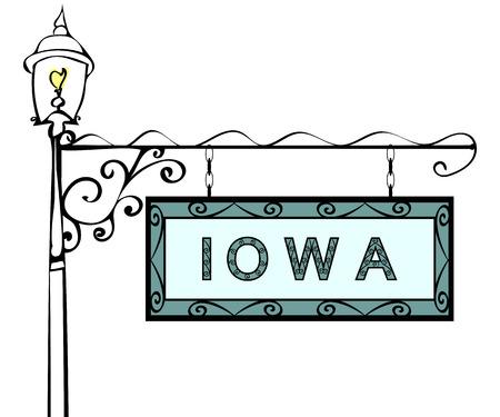 lamppost: Iowa retro pointer lamppost. Iowa state America tourism travel Illustration