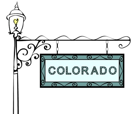 colorado state: Colorado retro pointer lamppost. Colorado state America tourism travel. Illustration
