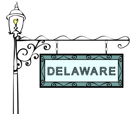 blue signage: Delaware retro pointer lamppost. Delaware state America tourism travel.