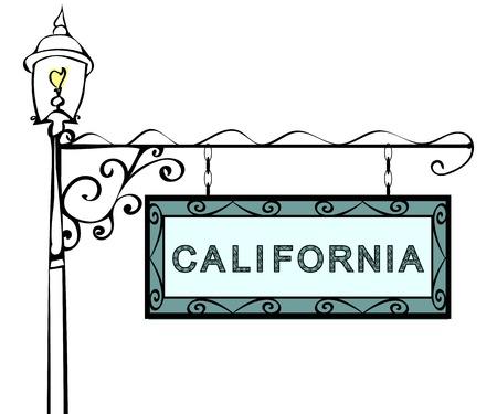 lamppost: California retro pointer lamppost. California state America tourism travel.