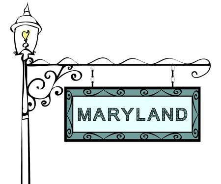 lamppost: Maryland retro pointer lamppost. Maryland state America tourism travel. Illustration