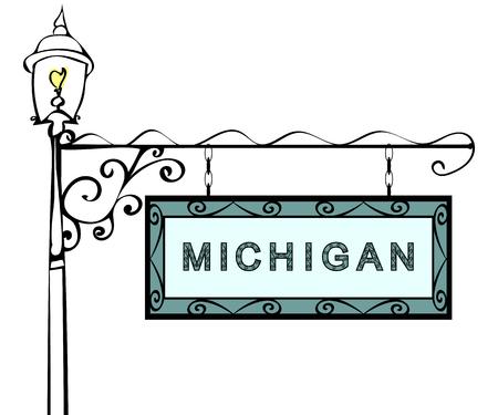 michigan: Michigan retro pointer lamppost. Michigan state America tourism travel. Illustration