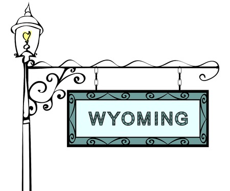lamppost: Wyoming retro pointer lamppost. Wyoming state America tourism travel.