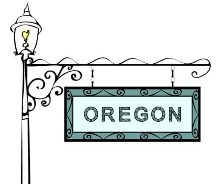 lamppost: Oregon retro pointer lamppost. Oregon state America tourism travel. Illustration