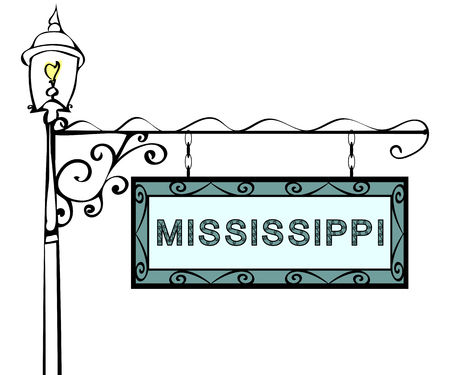 blue signage: Mississippi retro pointer lamppost. Mississippi state America tourism travel. Illustration