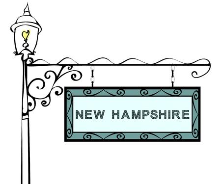 lamppost: New Hampshire retro pointer lamppost. New Hampshire State America tourism travel. Illustration