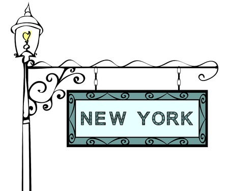 new york state: New York retro pointer lamppost. New York State America tourism travel.