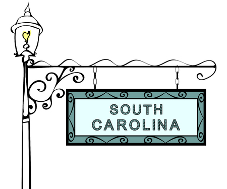 South Carolina retro pointer lamppost. South Carolina State America tourism travel.