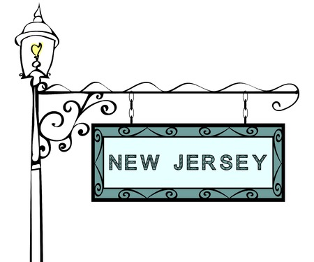 lamppost: New Jersey retro pointer lamppost. New Jersey State America tourism travel.