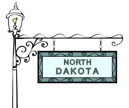 north dakota: North Dakota retro pointer lamppost. North Dakota State America tourism travel.