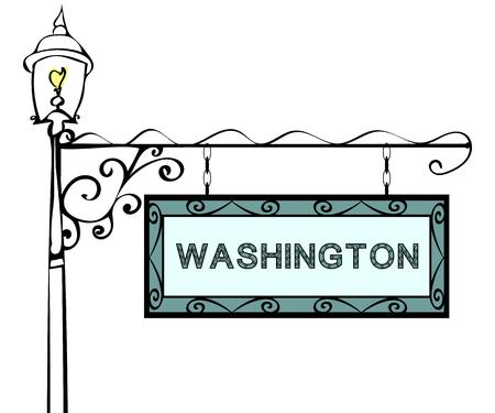 lamppost: Washington retro pointer lamppost. Washington State America tourism travel.