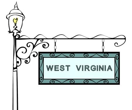 lamppost: West Virginia retro pointer lamppost. West Virginia State America tourism travel. Illustration
