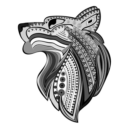 turk: Vintage wolf head ethnic black white hand draw pattern. Predator. Wolf symbol freedom. Vector Wolf. Illustration