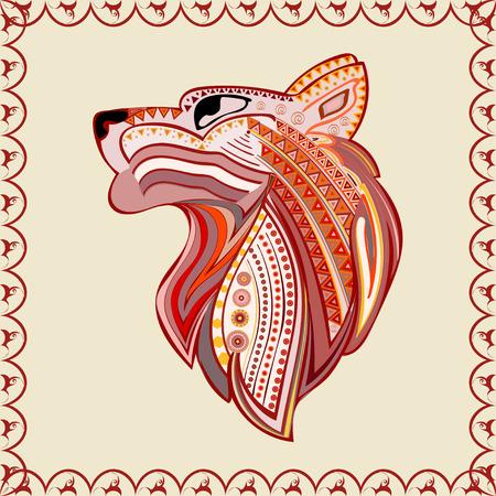 predator: Vintage wolf head ethnic color pattern hand draw. Predator. Wolf symbol freedom. Vector Wolf. Illustration