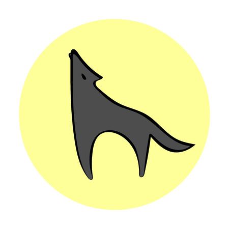 Silhouette howling wolf moonlight. Logo emblem image wolf. Wolf symbol freedom.