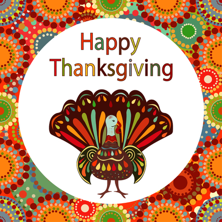 fall about: Vector illustration happy thanksgiving pictures hand draw. Beautiful colorful ethnic Turkey bird circle bright background Thanksgiving Day Illustration