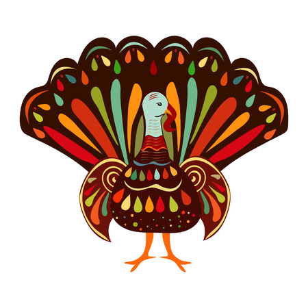 turkey bird: Vector illustration happy Thanksgiving Beautiful colorful ethnic turkey bird.  Thanksgiving day  painting hand draw.