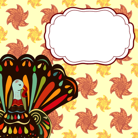 turkey bird: Vector illustration inscription Happy Thanksgiving text colorful ethnic turkey bird .  Thanksgiving day Beautiful painting hand draw.