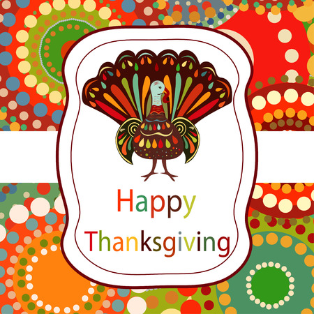 turkey bird: Thanksgiving day Beautiful colorful ethnic turkey bird label bright background.Thanksgiving day  painting hand draw.