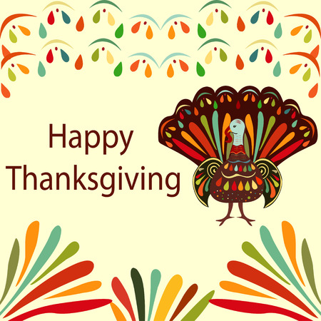 fall about: Vector illustration Thanksgiving day Beautiful colorful ethnic turkey bird. Happy Thanksgiving  painting hand draw  bright background.
