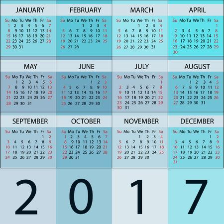 months of the year: Calendar Planner 2017 Year. Vector 12 Months Week starts sunday.