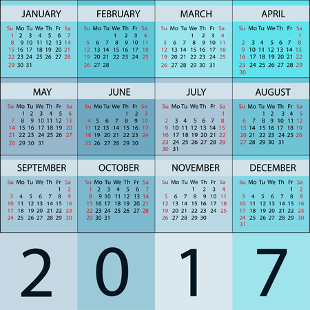 meses del año: Calendario Planificador 2017 Año. Vector 12 Meses semana comienza el domingo.