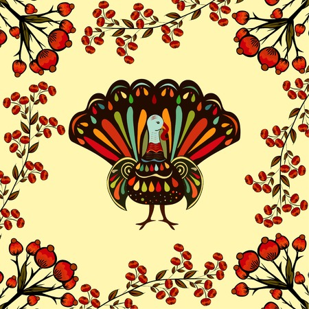 fall about: Vector illustration happy Thanksgiving Beautiful colorful ethnic turkey bird.  Thanksgiving day  painting hand draw.