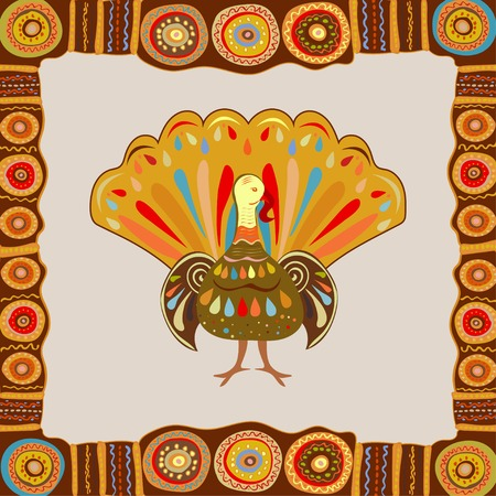 fall about: Vector illustration happy Thanksgiving painting hand draw bright background. Beautiful colorful ethnic turkey bird Thanksgiving day.