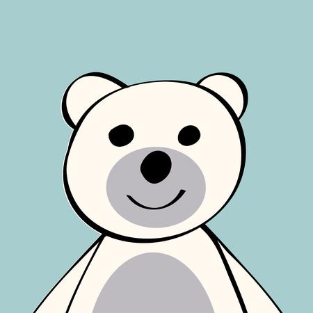 small children: White Bear funny cartoon animal toy. Vector illustration.