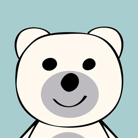 White Bear funny cartoon animal toy. Vector illustration.