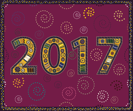 flamboyant: Happy New Year 2017 handmade. Christmas vector illustration.