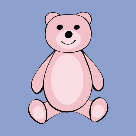 Bear Funny cartoon animal toy. Vector illustration.